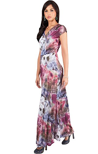 KOH KOH Women Long Cap Short Sleeve Floral Print V-Neck Boho Flowy Summer Casual Formal Sexy Sundress Sundresses Gown Gowns Maxi Dress Dresses, Wine Red and Gray M 8-10