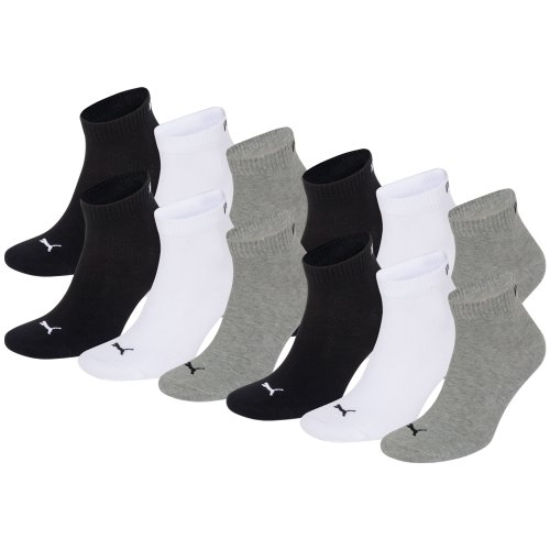 PUMA Unisex Quarters Socken Sportsocken 12er Pack grey / white / black 882 - 39/42