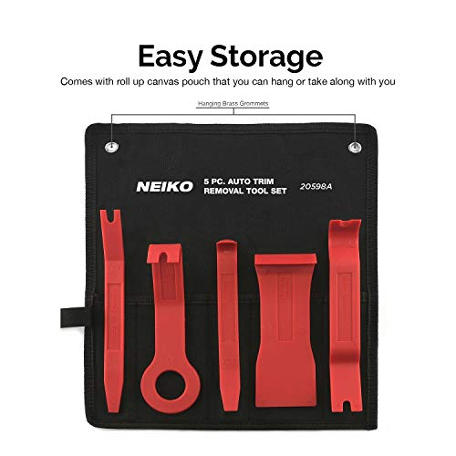Neiko 20598A No-Scratch Auto Trim Removal Tool Kit, 5 Piece | Fastener and Molding Removal Tool
