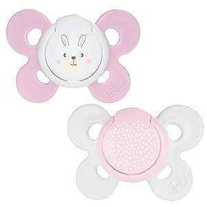 Chicco Physio Comfort - Pack de 2 chupetes de silicona 0-6 m, color rosa (diseños surtidos)