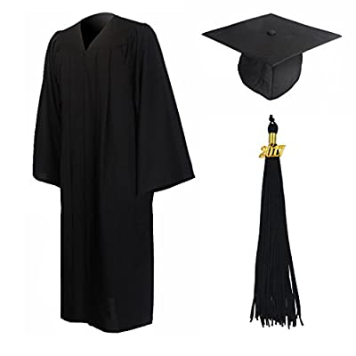 GraduationMall Matte Graduation Gown Cap Tassel Set 2017 for High School and Bachelor