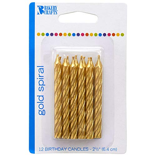DecoPac Bakery Crafts 24446 Gold Spiral Wax Candle 2-1/2 Inch