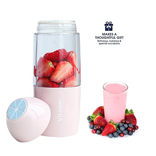 Portable Blender 350mL Vitamer USB Juicer Cup, Fruit Mixing Machine, Personal Size Electric Rechargeable Mixer, Shakes Smoothies Blender with USB Charger Cable (Pink)