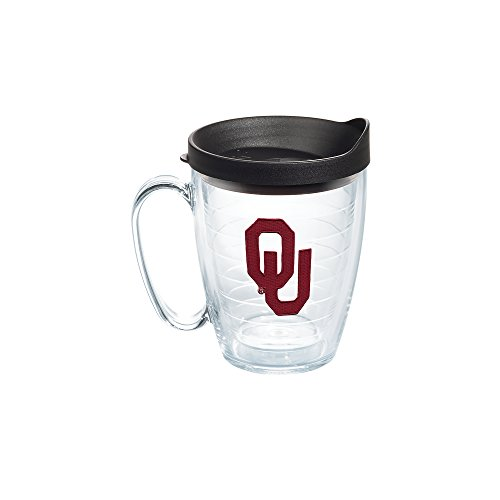 Tervis 1056764 Oklahoma Sooners Logo Tumbler with Emblem and Black Lid 16oz Mug, Clear (Coffee Mug Oklahoma)