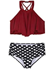 Hilor Women's V Neck Swim Tops Flowy Handkerchief Tankini Top
