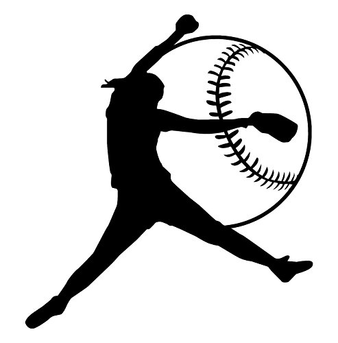 Girls Softball Black-High Quality Vinyl Wall Decal-Made in USA-Unique Women Softball Gift Ideas-Ideal For Young Girls Playroom-Teenagers Bedroom-Softball Mom or the Women Softball Enthusiast (For Ideas Simple Women Bedroom)