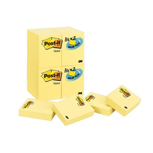 Post-it Notes Value Pack, 1-1/2 x 2-Inches, Canary Yellow, 24-Pads/Pack