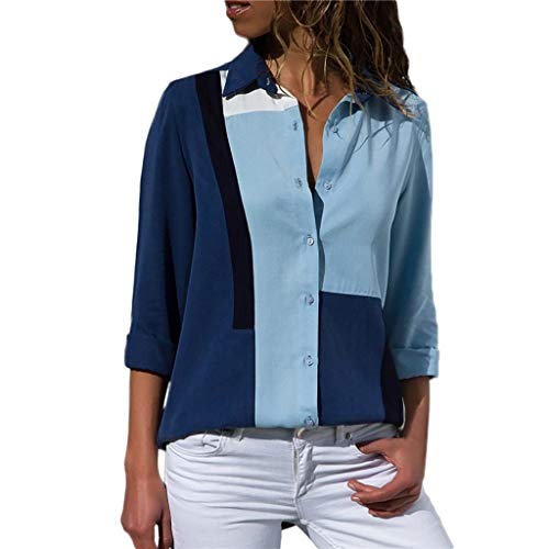 (Women's Blouses Fashion 2019,Wugeshangmao Button Up Striped T-Shirt Long Sleeve Plus Size Tops Tunic Pollover Shirt Blue)