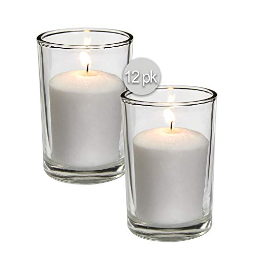(White Votive Candles - 12 Pack - Clear Glass Cups, Unscented, Extra Long 24 Hour Burn Time - for Party Decorations, Birthday, Wedding and Dinner Centerpieces - Hyoola)