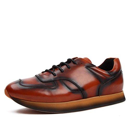 Heart&M moda casual cuero hombres ronda toe zapatos de cuero de corte bajo Brown