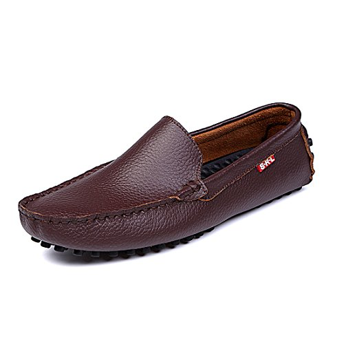 Brown Genuine Moccasins Leather Flats Slip SUNROLAN Men's Casual Penny Loafers Driving On Shoes Boat gHfnOqxFn