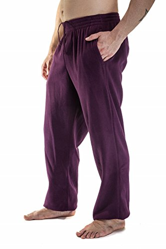 Alki'i Men's Plush Polar Fleece sweatpants With Pockets, Burgundy M Polyester Polar Fleece