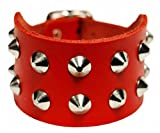 Biker Wristband 2-Row Pointed Studded Red