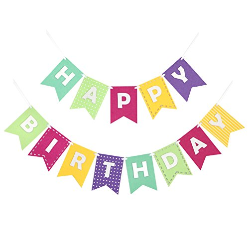 Happy Birthday Banner Bunting Laser Cut Felt 60 inches wide - Girly Brights]()