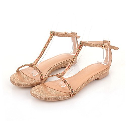 VogueZone009 Womens Open Toe Micro Fiber Embossed Leather Solid Sandals with Glass Diamond, Gold, 5.5 UK