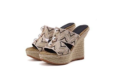 Toe Qin Peep Heel Flip Women's amp;x Sandals Flop Apricot Wedge TxxnRq6S