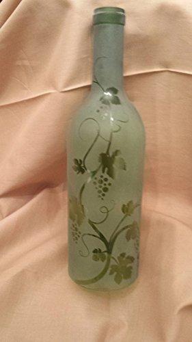01 Recycled Wine Bottle Hurricane Candle Shade Etched with Grapevine - Grapevine Candle Wine Holder
