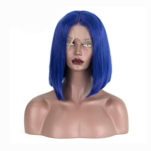 Lace Front Human Hair Wigs For Black Women Straight Short Bob Wig Pre Plucked Blonde Pink Blue Burgundy 99J,Blue,8inches,150]()