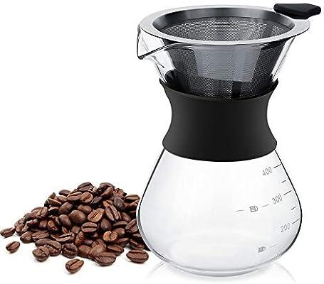 Cafetera de Vidrio Y Filtro de Acero Inoxidable Reutilizable ...