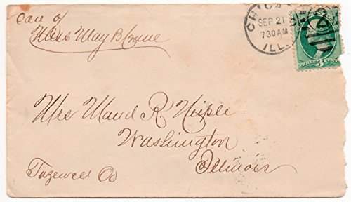 - US Postal Cover 1880's Chicago, Ill, Windsor European Hotel Add on back 3 Cent Postage Stamp Scott #147