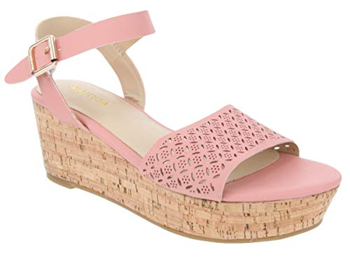 Nautica Women's Platform Wedge Sandals Summer Shoes with Buckle and Cork Bottom-FINCHER 2-Blush-6.5 ()