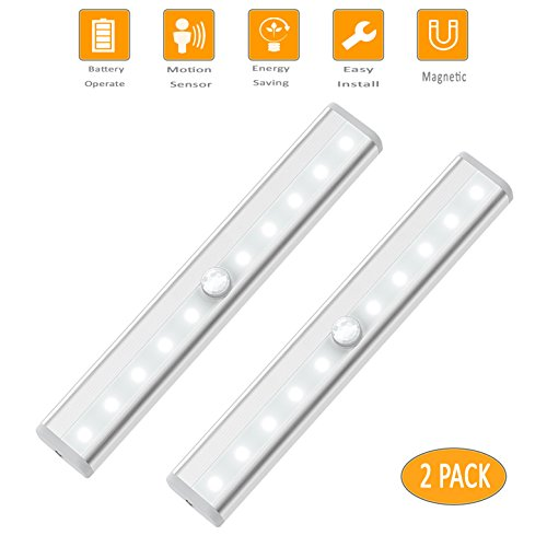 Motion Sensor Closet Light Under Cabinet Lighting Battery Operated,Wireless Night light Bar,Portable Cordless 10 LED Strip Lights,Cupboard/Wardrobe/Drawer/stairs Safe Lamp,Stick Anywhere With Magnetic - High Performance Fluorescent Task Lamp
