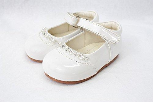 Bahía Pod patente zapatos con diamantes–blanco tamaño 1(3–