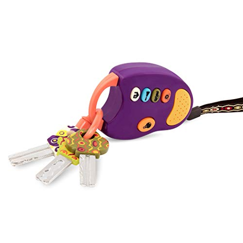 B. toys - FunKeys Toy - Funky Toy Keys for Toddlers and Babies - Toy Car Keys and Purple Remote with Light and Sounds - Non-Toxic