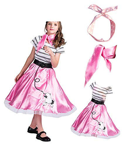 WYBAM 4-12years Old Girls 1950's Pink Poodle Dress
