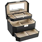 SONGMICS Jewellery Box 3 Layers with Mirror Drawer Jewellery Storage for Rings Necklaces Earrings, Black JBC219