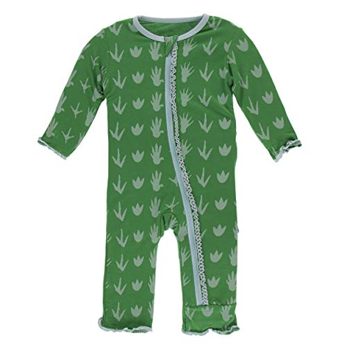 - Kickee Pants Little Girls Print Muffin Ruffle Coverall with Zipper - Dino Tracks, 5 Years
