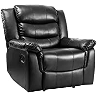 Merax PU Leather Recliner Ergonomic Adjustable Recliner Sofa Chair, Black