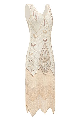 Party 1920s Gatsby Vintage Great Fringe Dress Metme Apricot Flapper Beaded Women's wASgx8q5