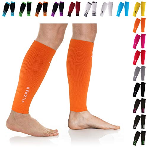 NEWZILL Compression Calf Sleeves (20-30mmHg) for Men & Women - Perfect Option to Our Compression Socks - for Running, Shin Splint, Medical, Travel, Nursing, Cycling (L/XL, Solid Orange)