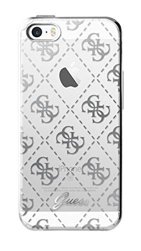Guess Coque semi-rigide pour iPhone 5/5S/SE Transparent/Argent