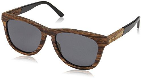 Earth Wood Cove Polarized Wayfarer Sunglasses, Brown Zebra//Black, 52 mm - Wood Earth Sunglasses Polarized