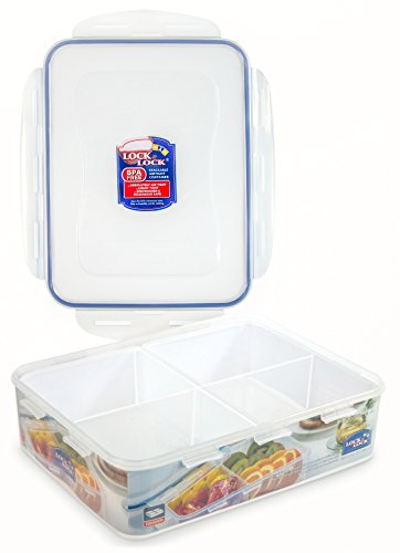 Lock & Lock Airtight Rectangular Food Storage Container with Divider 131.87-oz / 16.48-cup