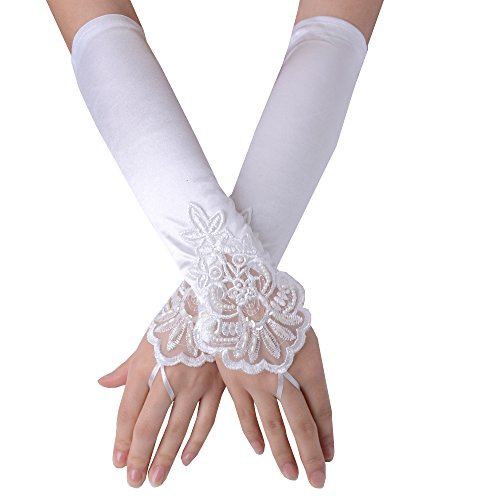 JISEN Lady Fingerless Beaded Floral Embroidery Lace Sequins Satin Gloves White ()