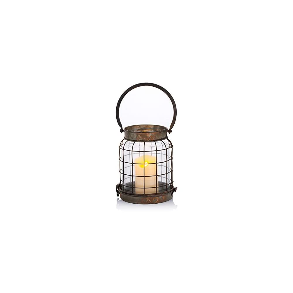 Rustic Decorative Candle Lantern Pillar Candle Holder, Metal Glass Wall Sconce, Portable Battery Operated Candle Holder…