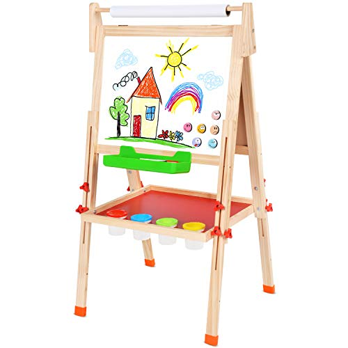 BATTOP Double Sided Adjustable Kids Easel Drawing Board with Magnetic Alphabet Numbers - Extra Accessory Set Included (3 in 1)]()