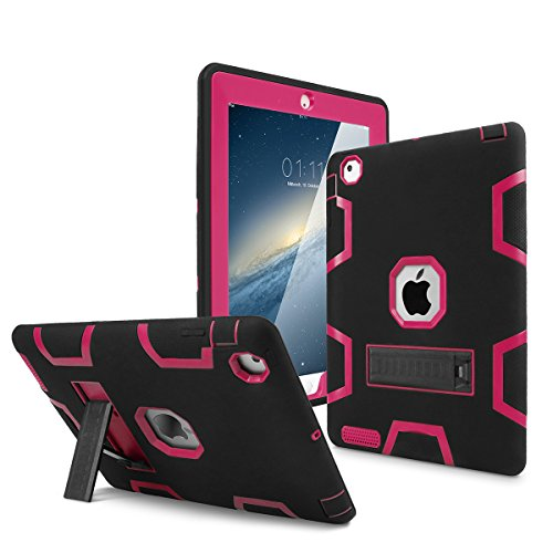 iPad 2 Case,iPad 3 Case,iPad 4 Case, AICase Kickstand Shockproof Heavy Duty High Impact Resistant Rugged Hybrid Three Layer Armor Full Body Protection Case with Stylus for iPad 2/3/4 (Black/Rose)
