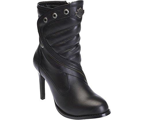 Harley Davidson Olanta bottes de motard noir en cuir pour femmes à talons