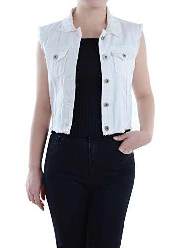 Anna-Kaci Womens Distressed Denim Button Up Sleeveless Crop Vest, Off-White, Medium
