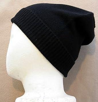 7b31f8c9a Black Pure 100% Cashmere Beanie Hat Unisex