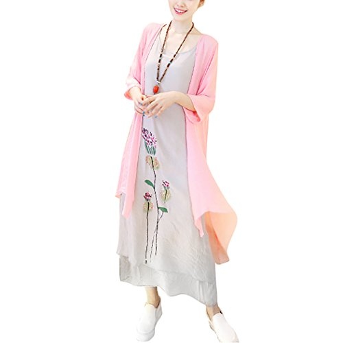 - HÖTER Women's Oriental Beauty Folk Style Irregular Maxi Painting Cotton Linen Casual Two Piece Suit Loose Dress Pink