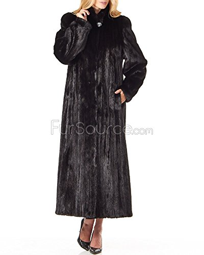 Classic Womens Mink Coat (Classic Full Length Mink Coat in Black - Large)