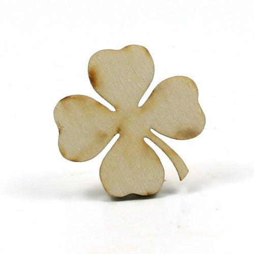 Mylittlewoodshop - Pkg of 6 - Shamrock - 1-1/2 inches by 1-1/2 inches with 4 leaf and 1/8 inch thick unfinished wood(LC-SHAM02-6)