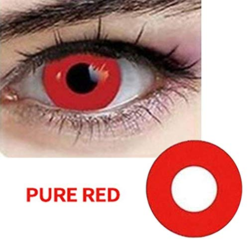 SAFE Women Multi-Color Cute Charm and Attractive Fashion Colored Contact Lenses Cosmetic Makeup Eye Shadow Red Zombie Color Contacts Lens - Lenses For Red Halloween Contact