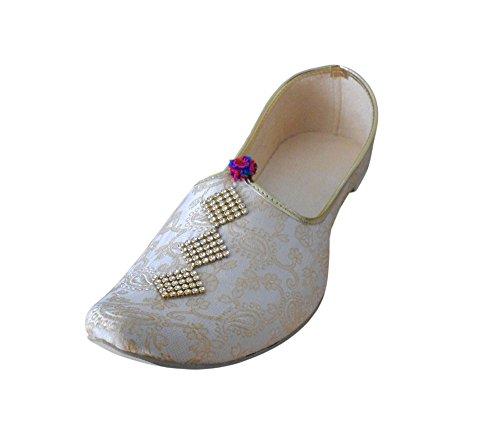 KALRA Creations Herren Schuhe Traditionelle Seide indischen Party Cremefarben