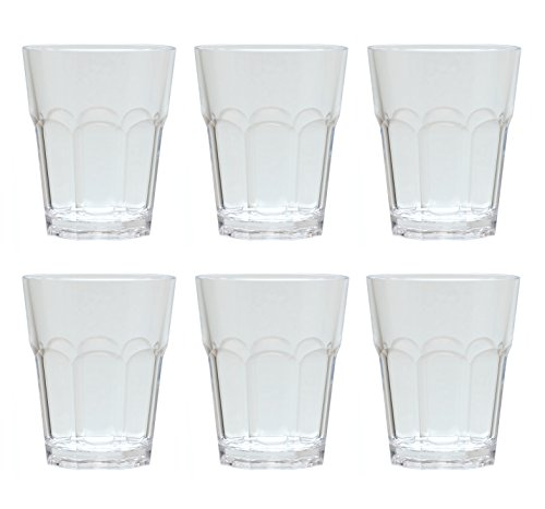 QG 12 oz Clear Acrylic Plastic Drinking Rock Glass Tumbler Octangle Base Set of 6